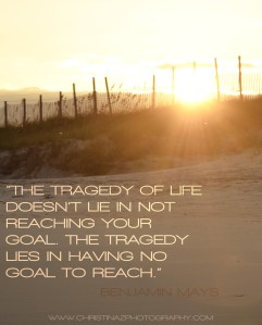 The Tragedy of life doesn't lie in not reaching your goal, the tragedy lies in having no goal to reach.