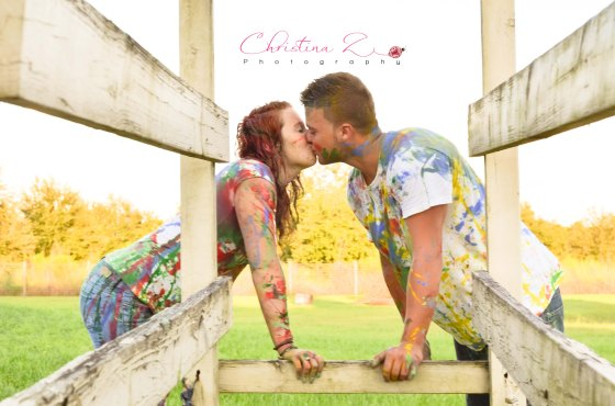 Couples Paint War Photo Session by © Christina Z Photography