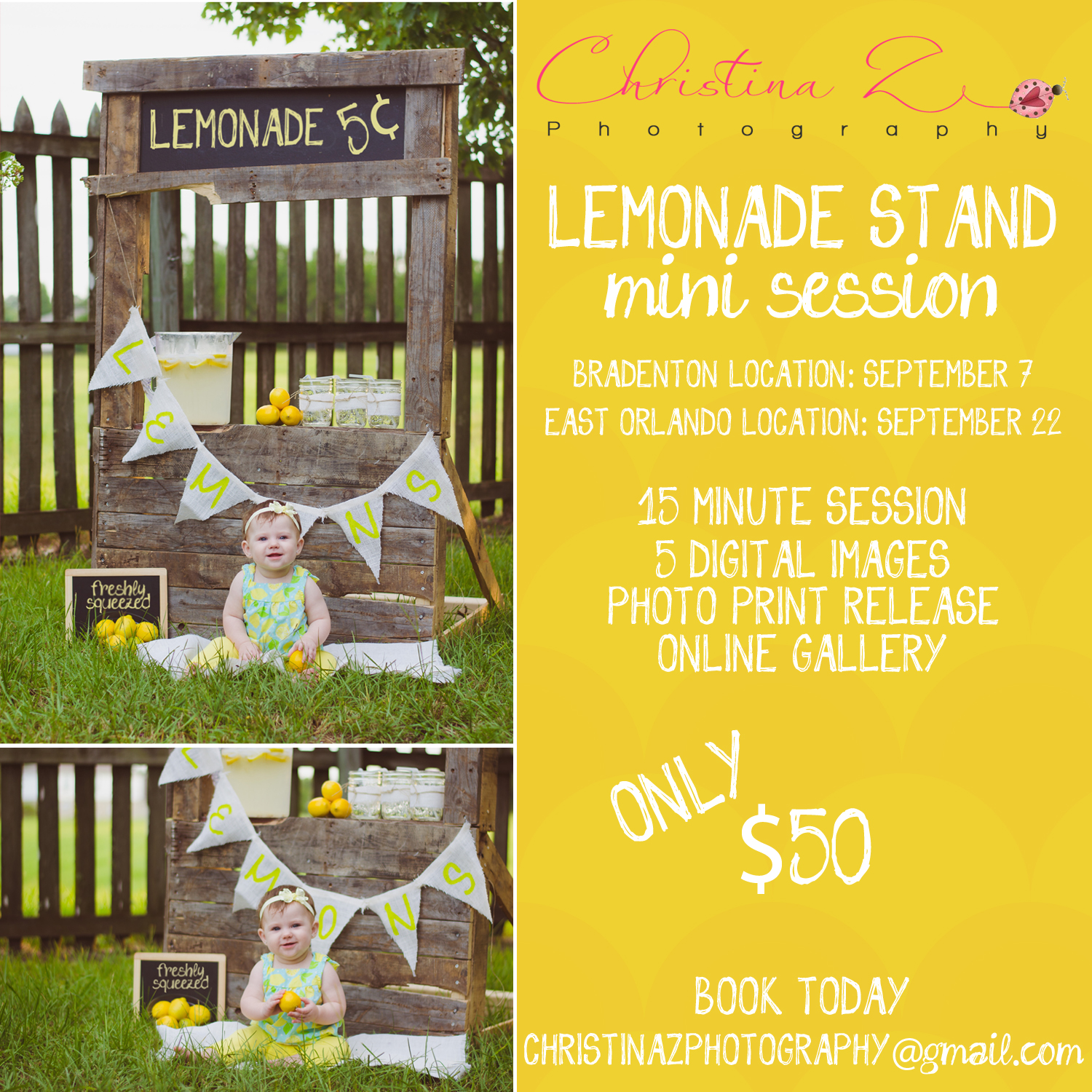 © Christina Z Photography | Lemonade Stand Mini Photo Sessions | Orlando + Bradenton FL Photographer | Childrens Summer Photography