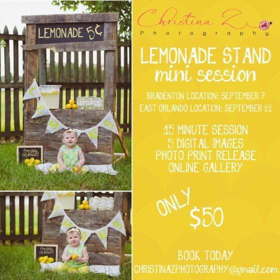 © Christina Z Photography   Lemonade Stand Mini Photo Sessions   Orlando + Bradenton FL Photographer   Childrens Summer Photography